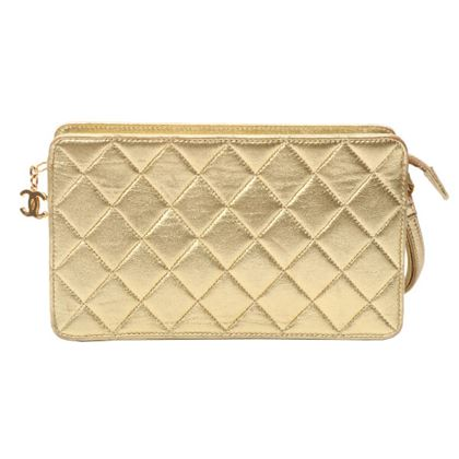 Chanel CC Mark Stitch Clutch Bag Gold