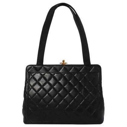 chanel-caviar-skin-turn-lock-metal-clasp-handbag-black