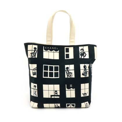 chanel-coco-window-black-white-canvas-tote-bag