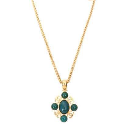 chanel-4-cc-mark-stone-chain-necklace-teal-green