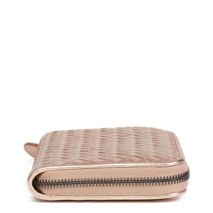 rose-gold-woven-metallic-grosgrain-calfskin-leather-zip-around-wallet