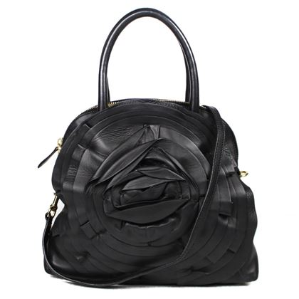 valentino-gravaldi-rose-petal-tote-bag-black-leather-pre-owned-used