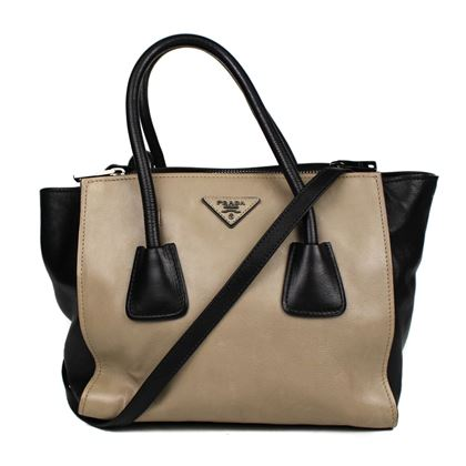 prada-bicolor-glace-calf-twin-pocket-tote-tan-black-leather-pre-owned-used