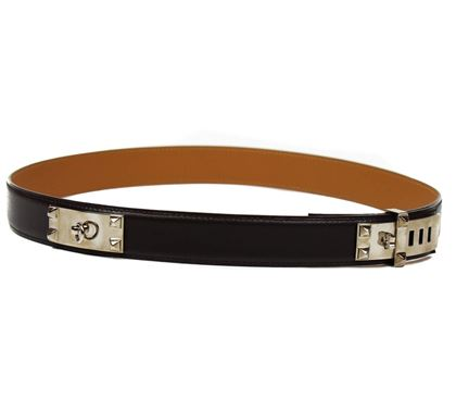 hermes-rare-mini-collier-de-chien-belt-80-medium-dark-brown-leather-with-silver-preowned-used