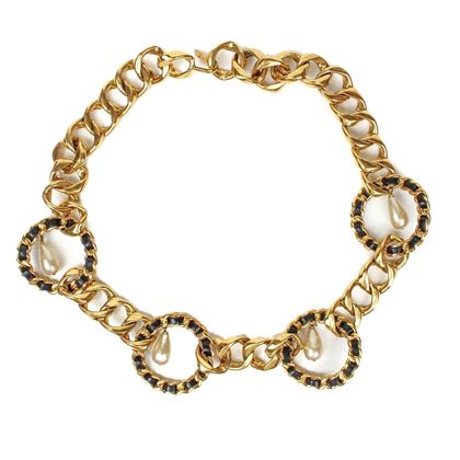chanel-pearl-charm-necklace-belt-gold-black-chain-pendants-cc-pre-owned-used