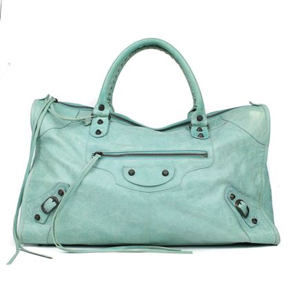 balenciaga-large-teal-city-bag-leather-with-grey-stud-detail-pre-owned-used