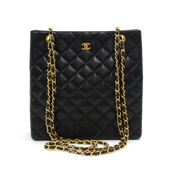 e021fad9e2b7 Vintage Chanel Black Quilted Lambskin Leather Tall Chain Shoulder Bag
