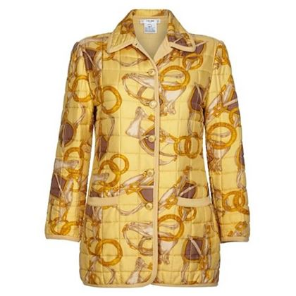celine-1980s-yellow-equestrian-print-silk-quilted-jacket-uk-size-10-12