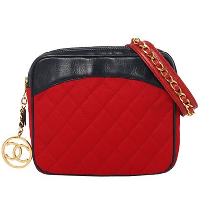 Chanel Leather Cotton CC Mark Charm Waist Bag Red/Navy