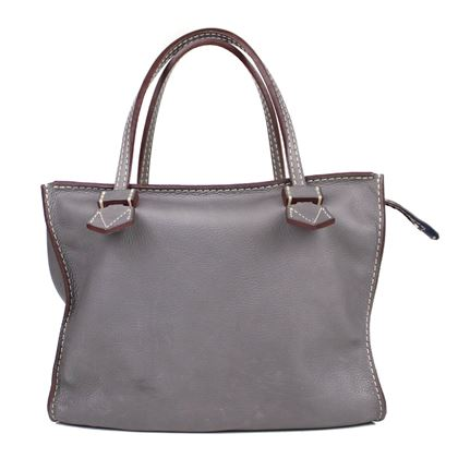 moreau-bregancon-medium-grey-leather-tote-handbag-with-wallet-pouch-pre-owned-used