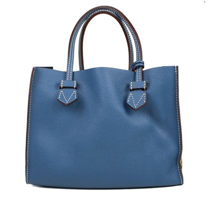 moreau-bregancon-medium-blue-leather-print-tote-handbag-with-wallet-pouch-pre-owned-used