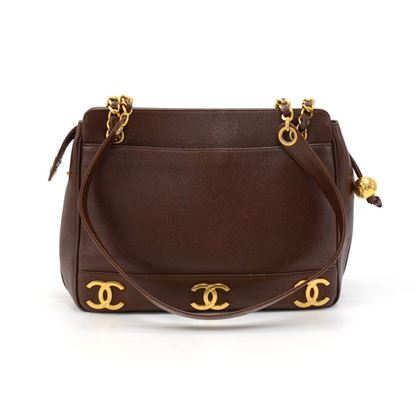 vintage-chanel-brown-triple-cc-logo-caviar-leather-shoulder-bag