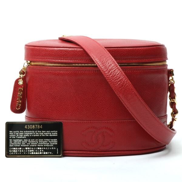 827c31f08aee Chanel Caviar Skin 3 CC Mark Stitch Logo Charm Shoulder Bag Red