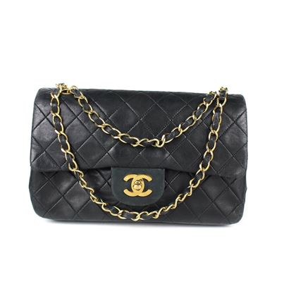 chanel-black-vintage-quilted-lambskin-leather-double-flap-bag