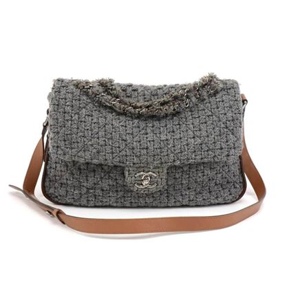 chanel-gray-quilted-wool-brown-leather-shoulder-flap-bag