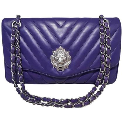 chanel-purple-lambskin-leather-lions-head-classic-flap-shoulder-bag-2