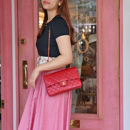 chanel-classic-flap-chain-bag-25cm-red
