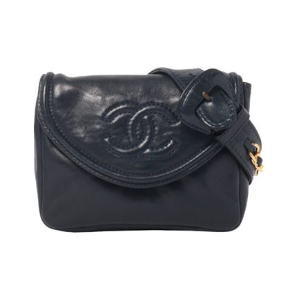 chanel-cc-mark-stitch-design-flap-waist-pouch-navy