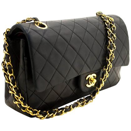 chanel-255-double-flap-10-chain-shoulder-bag-black-quilted-lamb-14