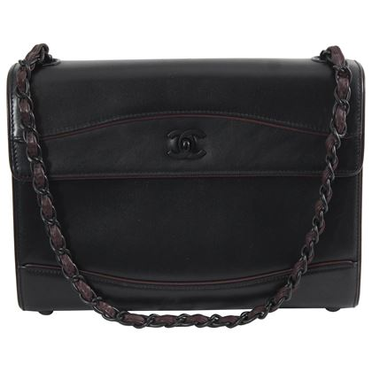 90's Vintage Chanel All Black Shoulder Bag