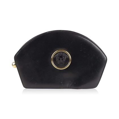 vintage-black-leather-medusa-clutch-bag