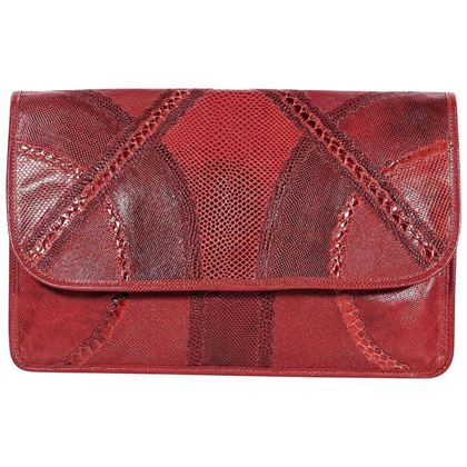 red-vintage-carlos-falchi-exotic-skin-clutch