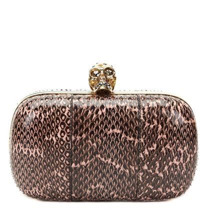 black-pink-python-leather-skull-box-clutch