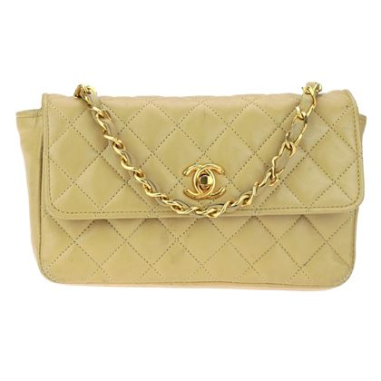 chanel-vintage-beige-lambskin-leather-mini-flap-bag