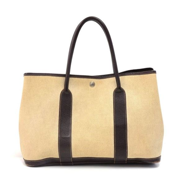 hermes-garden-party-pm-chocolate-brown-leather-beige-canvas-handbag