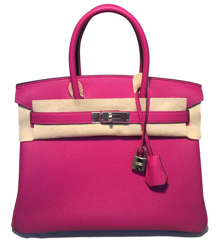 NEW HERMES Rose Pourpre Togo PHW 30cm Pink Birkin Bag