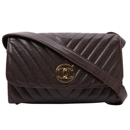 chanel-caviar-leather-v-stitch-cc-mark-plate-shoulder-bag-brown