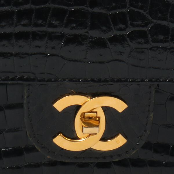 Chanel Crocodile Turn-lock Shoulder Bag Black