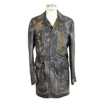 trussardi-jacket-trench-leather-vintage-marbled-paper-brown
