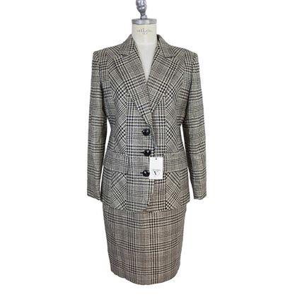 Valentino Skirt Suit Dress Vintage Gray Prince de Galles Wool Size 10 Us