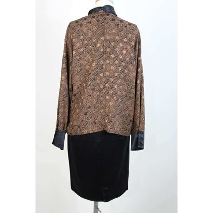 genny-by-gianni-versace-brown-vintage-silk-shirt-skirt-suit