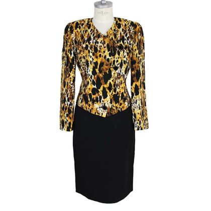mila-schon-animalier-silk-vintage-yellow-black-dress-tailleur
