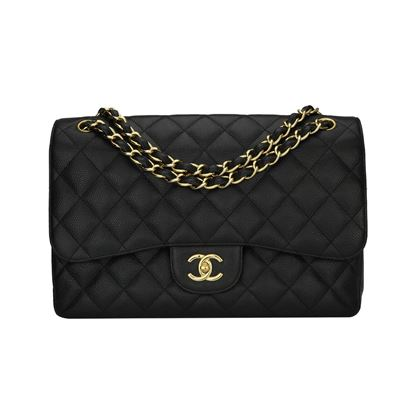chanel-double-flap-jumbo-black-caviar-gold-hardware-2012