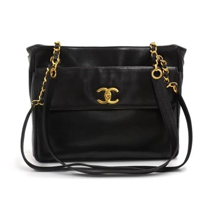 vintage-chanel-black-lambskin-leather-front-pocket-twist-lock-shoulder-bag