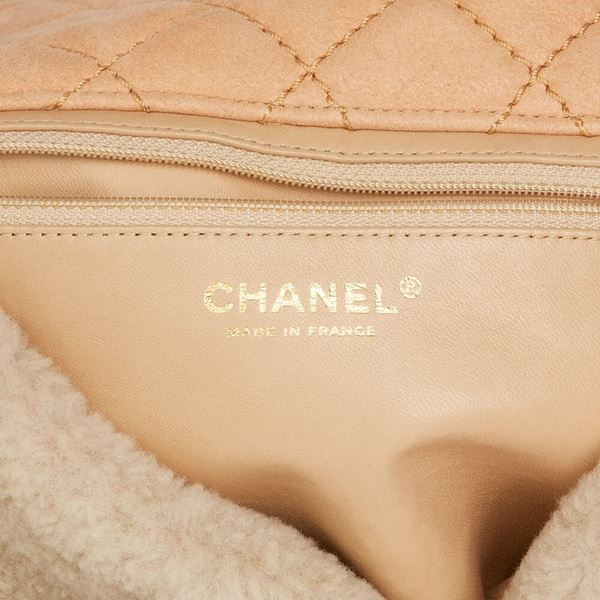 e19f7d16e407 Light Beige Pearl Embellished Shearling & Quilted Lambskin Classic ...