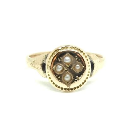 antique-victorian-star-set-pearl-9ct-rose-gold-ring