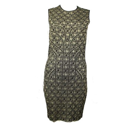 alexander-mcqueen-dress-gold-and-black-short-midi-medium-pre-owned-used