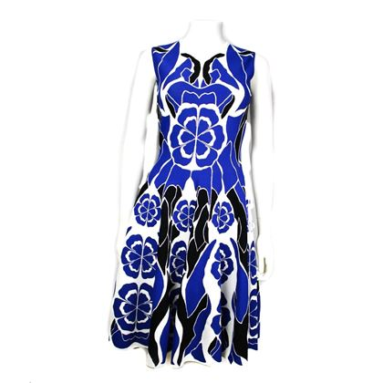 alexander-mcqueen-dress-floral-blue-black-white-a-line-sleeveless-medium-pre-owned-used