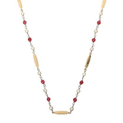 chanel-pearl-beads-logo-plate-chain-necklace-ruby-redwhite