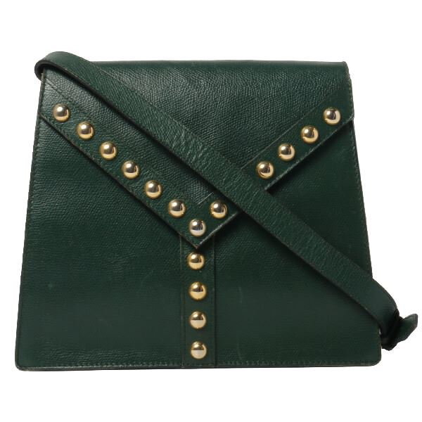Yves Saint Laurent Studded Design Shoulder Bag Dark Green