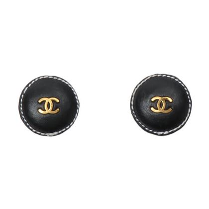 chanel-leather-round-cc-mark-earrings-black