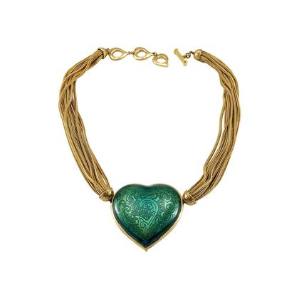 yves-saint-laurent-green-heart-pendant-necklace-1980s