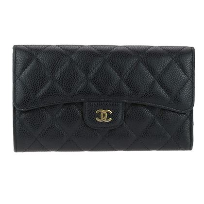 chanel-black-caviar-leather-long-flap-wallet-ghw