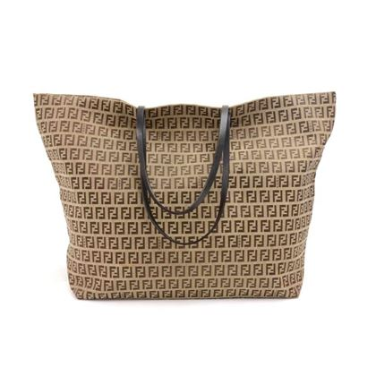 fendi-beige-zucca-monogram-nylon-x-brown-leather-tote-bag