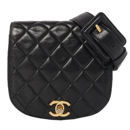 chanel-round-flap-turn-lock-waist-bag-black