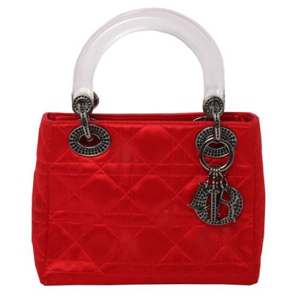 Dior Silk satin Lady Kanage Stitch Rhinestone Handbag S Red